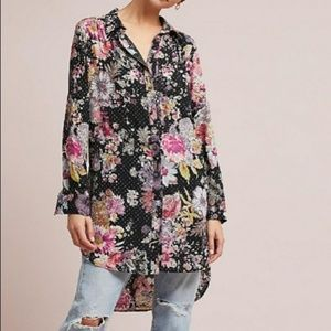 Anthropologie Maeve Floral Button Front Tunic